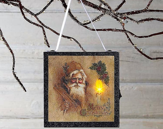 Lighted Candle And Vintage Santa Ornament - Christmas Tree Ornament