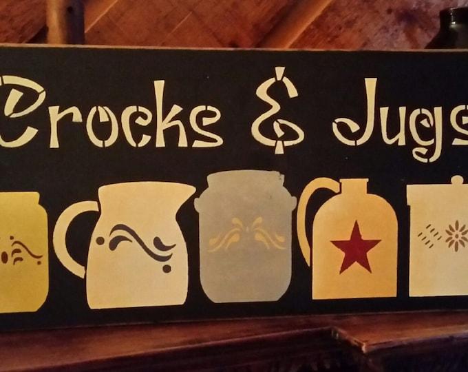 Primitive Crocks And Jugs Wood Sign