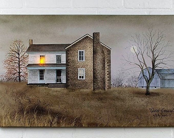 Lighted Quiet Evening Canvas - Farm - Wall Decor - Wall Hanging