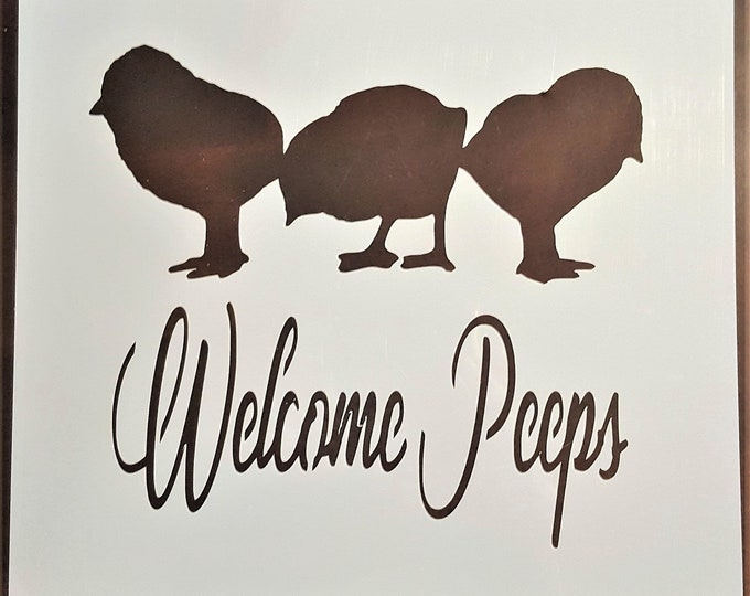 Mini Welcome Peeps Stencil - Easter/Bunny/Peeps Stencil - Stencil Only