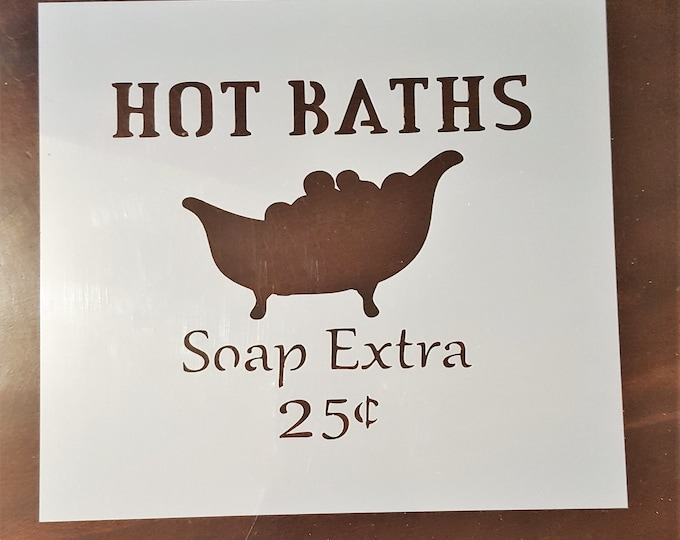 Mini Hot Baths Stencil - Bathroom/Bath Stencil - Stencil Only
