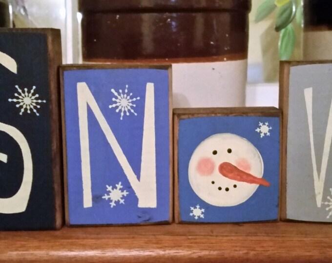 Primitive Snow/Snowman Block Sign
