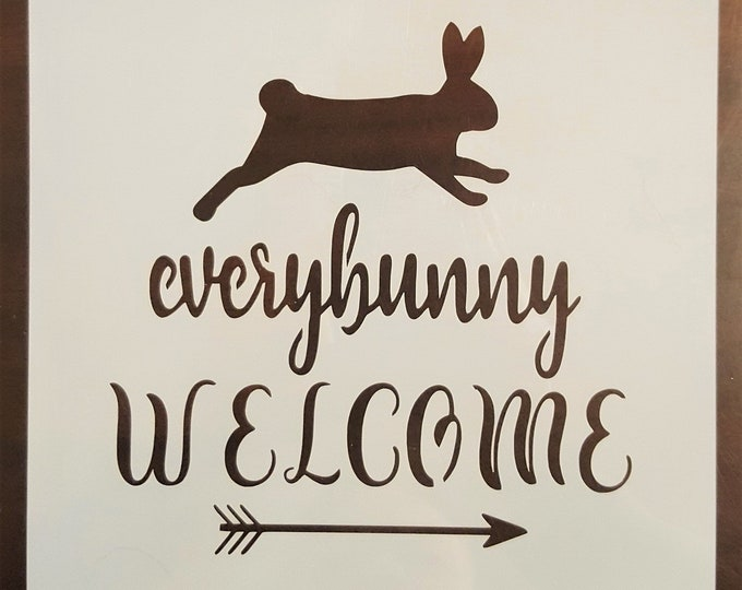 Mini Everybunny Welcome Stencil - Spring/Bunny/Easter Stencil - Stencil Only