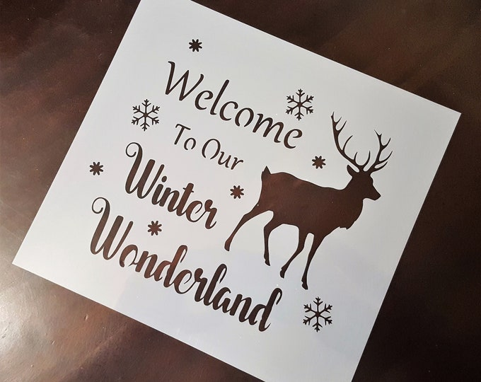 Mini Welcome To Our Winter Wonderland Stencil - Winter/Christmas Stencil - Stencil Only