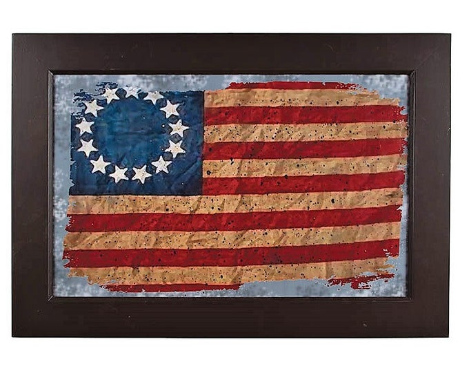 Framed Tattered Old Flag - Americana - Wall Decor - Wall Hanging