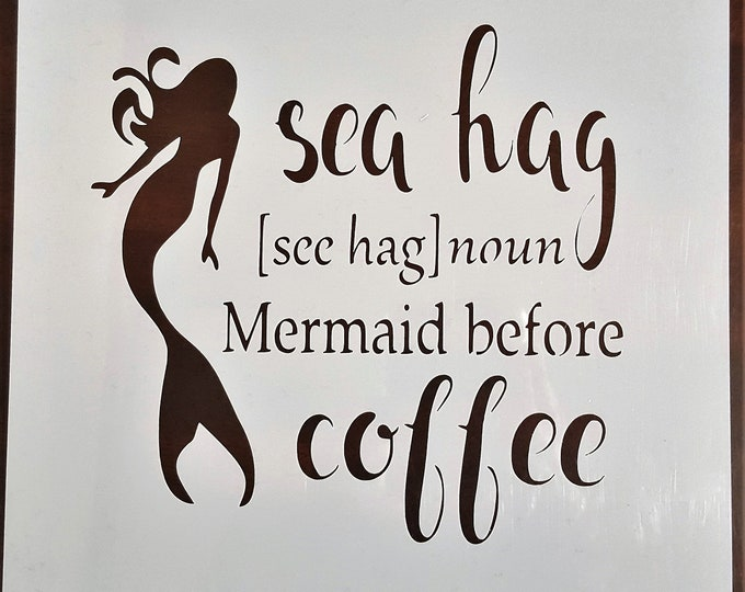 Mini Sea Hag Mermaid Stencil - Sea/Ocean/Mermaid Stencil - Stencil Only