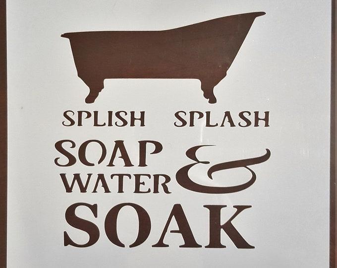 Mini Splish Splash Soak Bathroom Stencil - Bathroom/Bath Stencil - Stencil Only