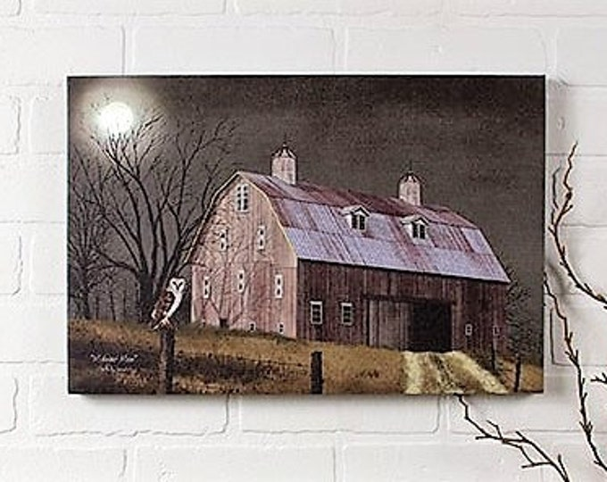 Lighted Midnight Moon Canvas - Barn/Moon/Owl - Wall Decor - Wall Hanging