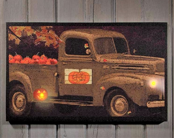 Lighted Vintage Truck/Pumpkin For Sale Canvas - Vintage Truck/Autumn - Wall Decor