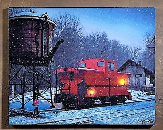 Lighted Caboose Canvas - Winter/Vintage - Wall Decor - Wall Hanging