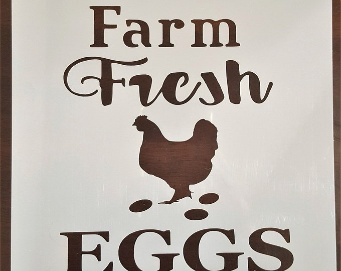 Mini Farm Fresh Eggs Stencil - Farm/Hen/Rooster - Stencil Only