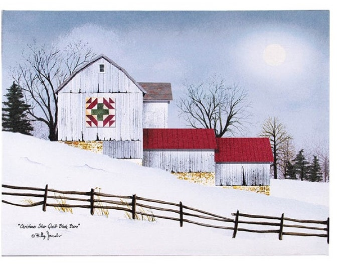 Christmas Star Quilt Barn Canvas - Barn/Winter - Wall Decor - Wall Hanging