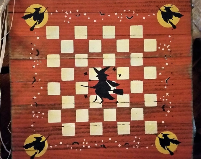 Primitive Fall/Witch CheckerBoard Sign