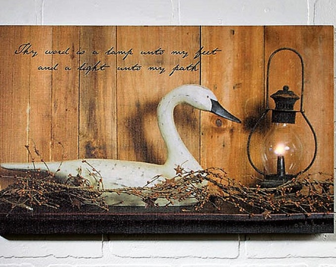 Lighted Candle Light Lantern & Goose Canvas - Wall Decor - Wall Hanging