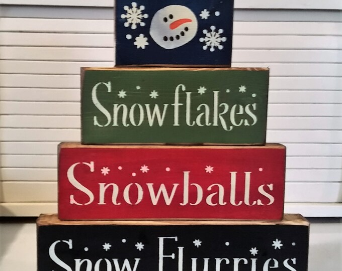 Primitive Snowman Snowflakes, Snowballs, & Snow Flurries Blocks