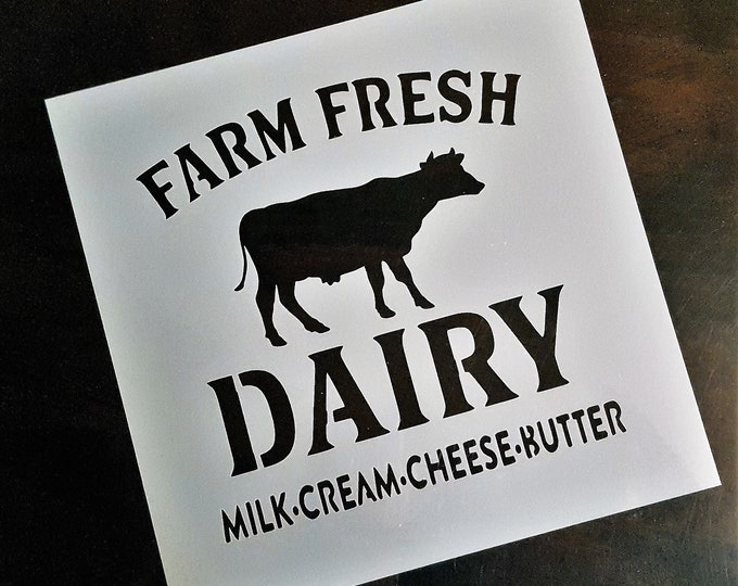 Mini Farm Fresh Dairy - Farm/Dairy/Cow Stencil - Stencil Only