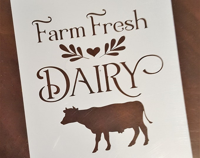Mini Farm Fresh Dairy Stencil - Farm/Cow/Dairy - Stencil Only