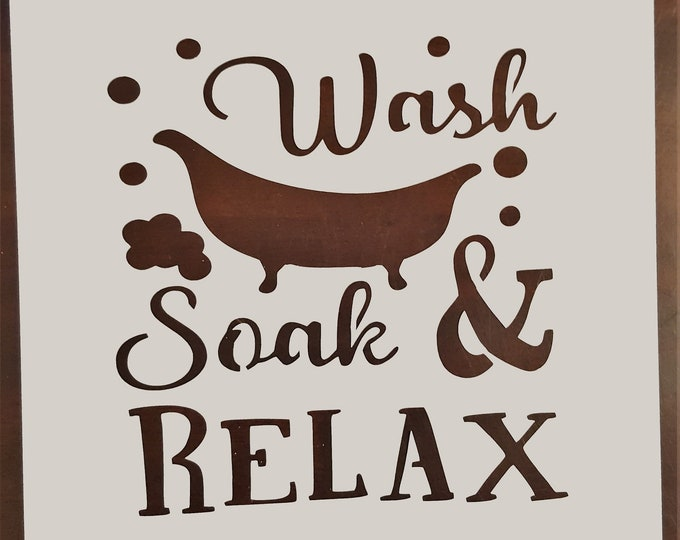 Mini Wash, Soak & Relax Stencil - Bathroom/Bath Stencil - Stencil Only