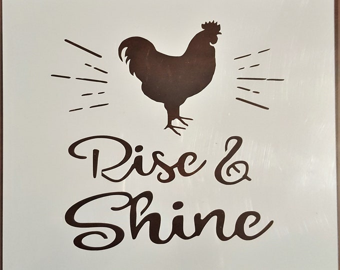 Mini Rise & Shine Stencil - Farm/Rooster - Stencil Only