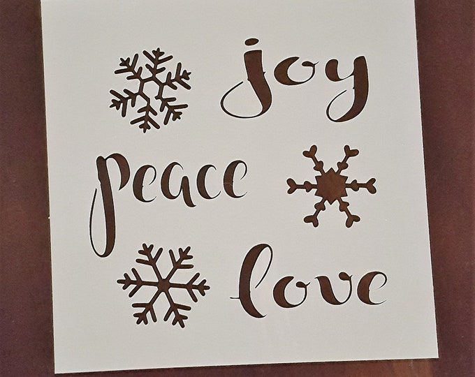 Mini Joy, Peace, Love Stencil - Winter/Christmas Stencil - Stencil Only