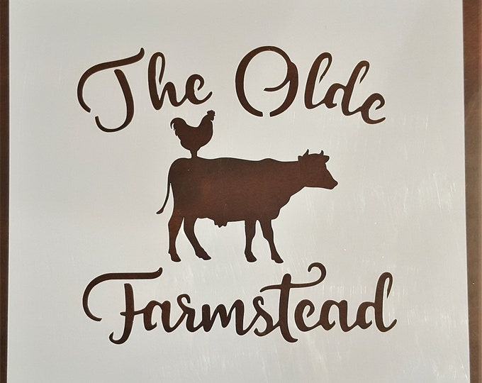 Mini The Olde Farmstead Stencil - Farm/Dairy/Cow Stencil - Stencil Only