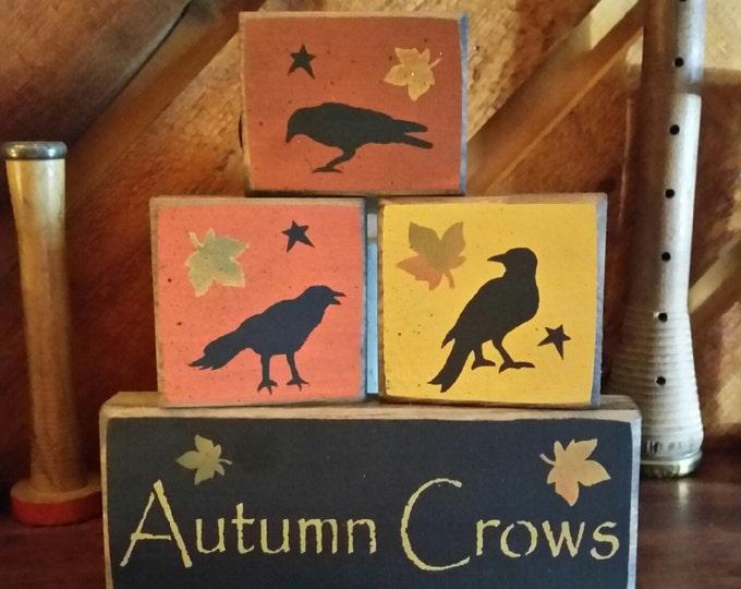 Primitive Autumn Crows Block Sign