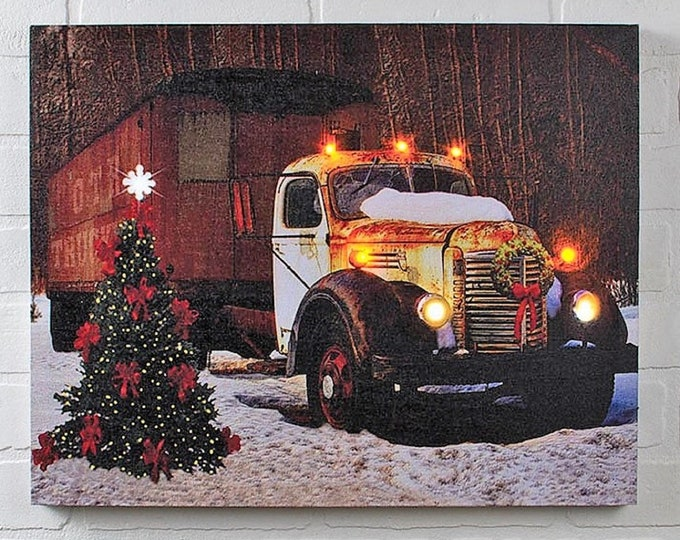 Lighted Holiday Trucking Canvas With Timer - Wall Decor - Wall Hanging