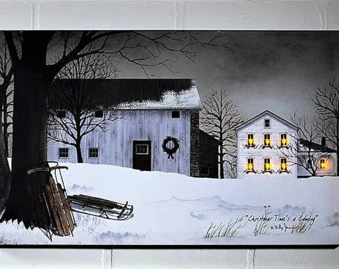 Lighted Christmas Time Canvas - Winter/Farm - Wall Decor - Wall Hanging