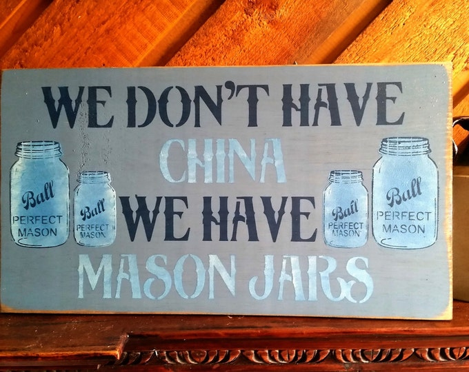 Primitive Ball Mason Jar Sign - Blues