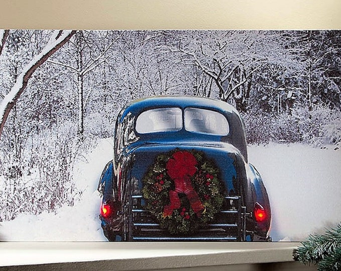 Lighted Winter Classic Car Canvas - Wall Decor - Wall Hanging