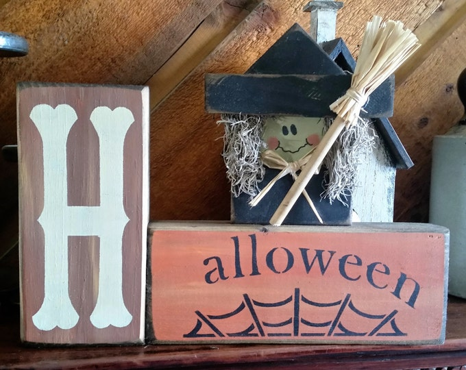 Primitive Halloween/Witch Wood Block Sign
