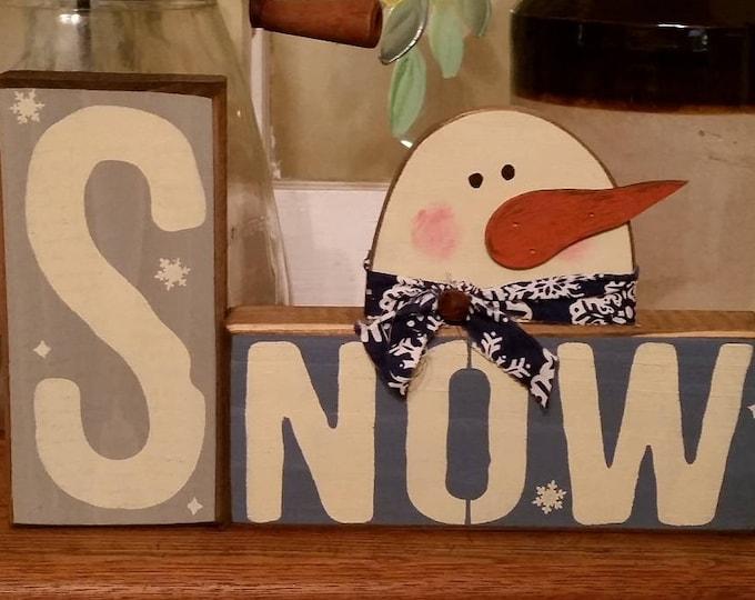 Primitive Winter/Snowman Block Sign, Snowman Sign, Winter Sign, Snow Sign