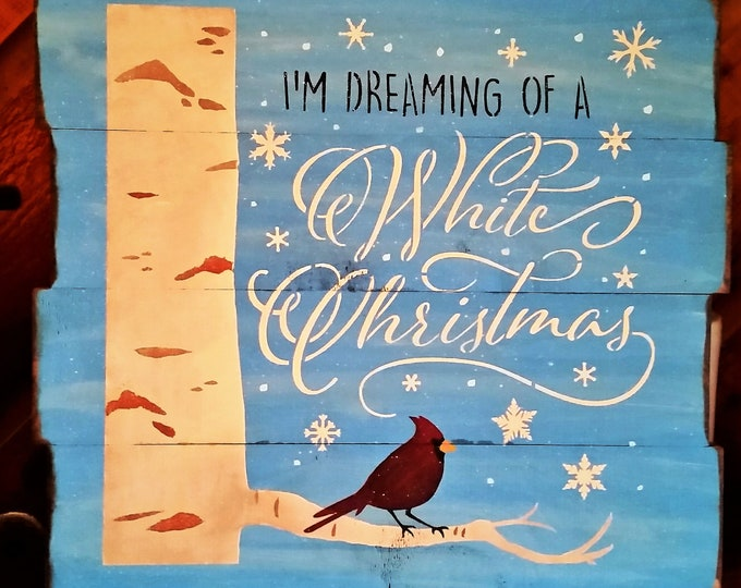 "Primitive Large ""White Christmas Cardinal"" Sign"