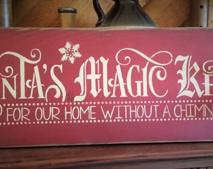 Primitive Santa's Magic Key Sign, Christmas Sign, Santa Sign