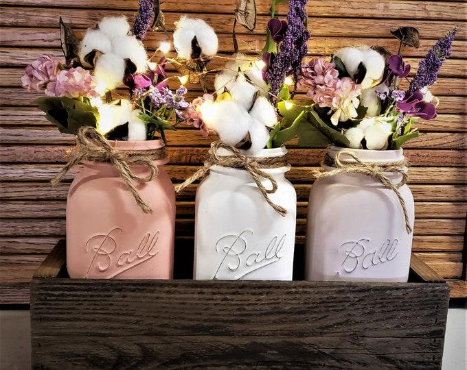 Primitive Mason Jar Centerpiece, Cotton Ball Stems, Lights, Farmhouse Decor, Floral Decor, Mason Jar Decor, Rustic Home Decor