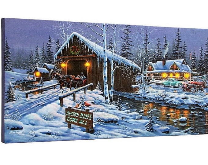Lighted Holiday Gathering Canvas - Sleigh Rides - Wall Decor - Wall Hanging