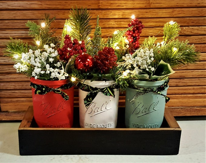 Christmas Mason Jar Centerpiece, Lights, Christmas Decorations, Farmhouse Christmas, Christmas Decor, Mason Jar Decor, Rustic Home Decor