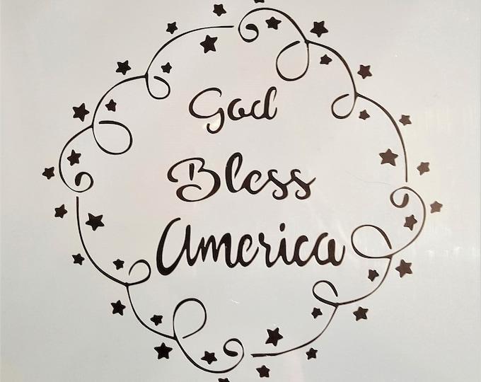 Mini God Bless America Stencil - Americana/God Bless Stencil - Stencil Only
