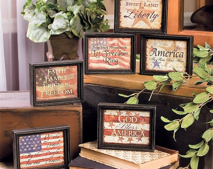 Framed Our Country 6 Assorted Pictures - Americana - Wall Decor - Shelf Sitters