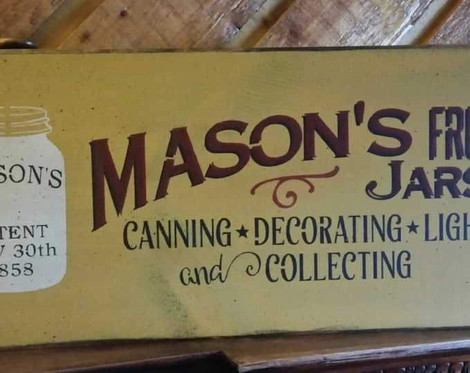 Primitive Large Mason Jar Sign