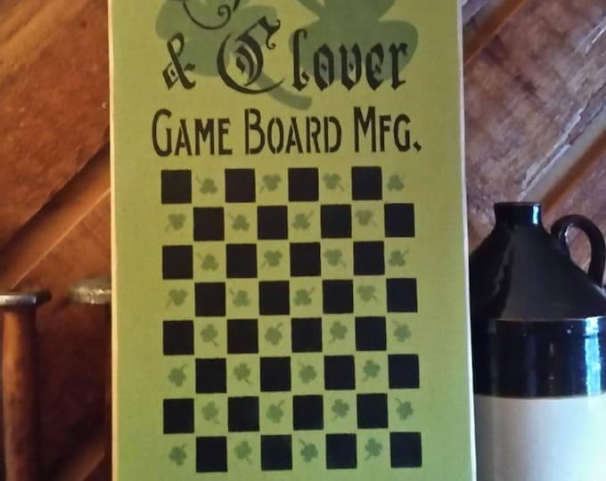 Primitive Shamrock/Irish Checker Board Wood Sign - Gameboard/Irish
