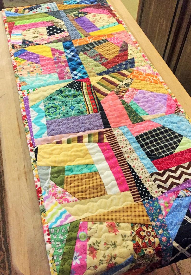 Decorative Stitch Multi-Color Crazy Quilt Table Runner Multi-Pattern