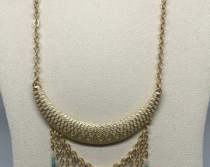 "18"" Satin Gold Crescent Necklace with 4"" Dangle"