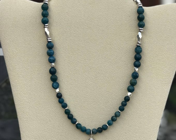 "17"" Blue Apatite with Sterling Silver Mom Charm"
