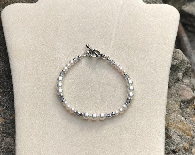 White Swarovski Pearl Bracelet