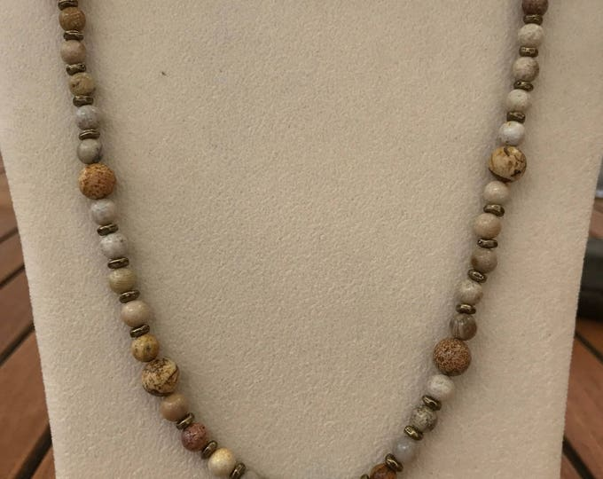 "18"" Picture Jasper & Natural Moonstone Necklace with Patina Starfish"