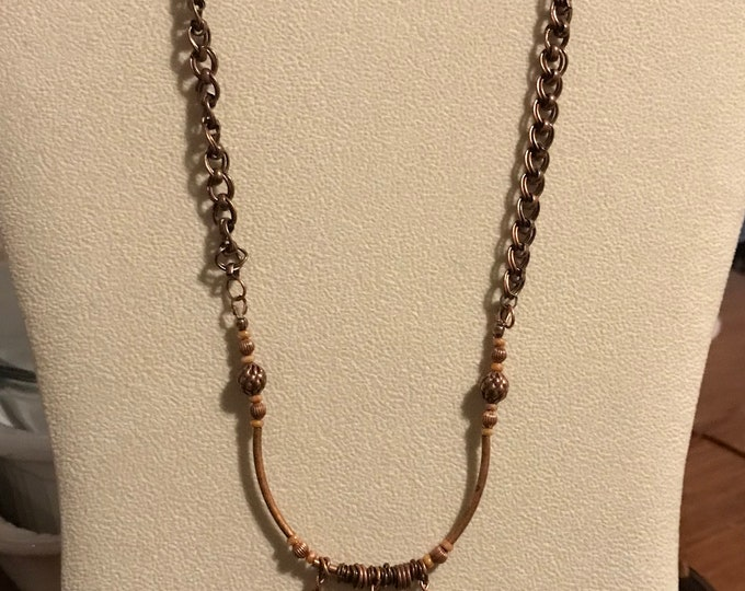 "20"" Copper Necklace with Three Leaf Pendants"