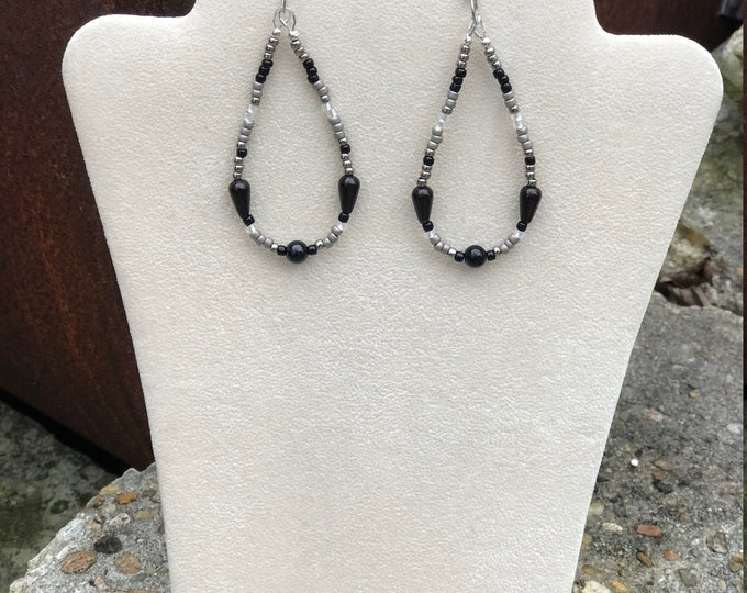 Black Onyx and seed bead earrings