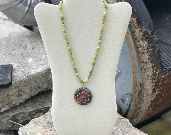"20"" Matte Olive Jade Gemstone Necklace with 44 mm Porcelian Paisley Design Pendant"