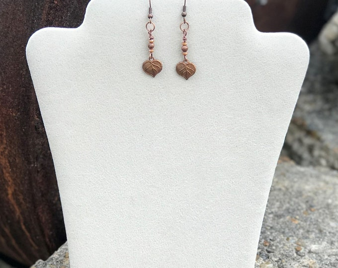"1"" Drop Copper Earrings with Copper Leaf Charm"